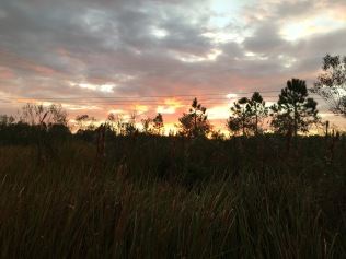Sunset from our campsite, or Here come the mosquitos!